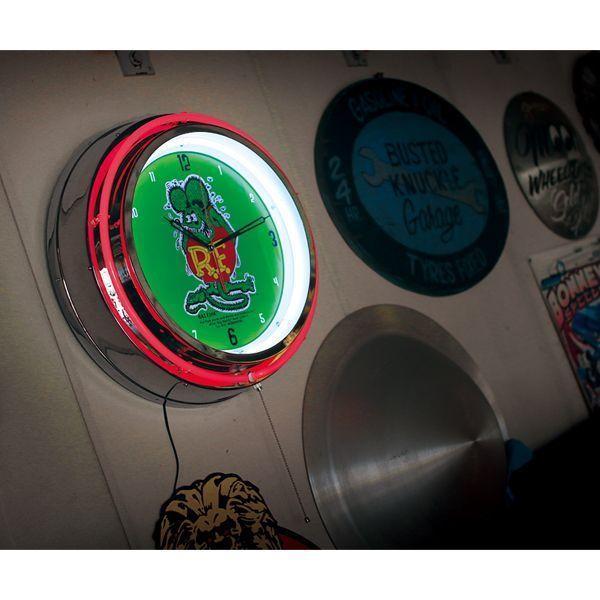 【MOON EYES】RAT FINK 霓虹燈管 鋁邊外框 經典LOGO牆壁掛鐘| Webike摩托百貨