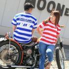【MOON EYES】MOON Equipped Border T-Shirt MOONEYES 橫條紋囚犯短袖T恤 藍色  Webike摩托百貨