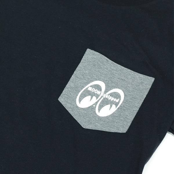 【MOON EYES】MOON Equipped T-Shirt MOONEYES 雙色調口袋圓領上衣 短T 黑色  Webike摩托百貨