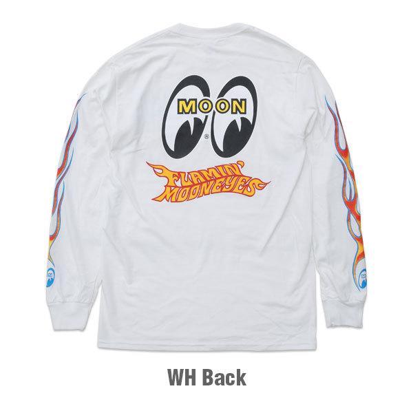 【MOON EYES】Flamin' MOONEYES Long Sleeve T-Shirt 火焰風格長袖上衣 白色  Webike摩托百貨