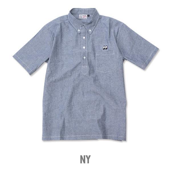 【MOON EYES】MOONEYES Classic Chambray Shirt 套式襯衫 刺繡logo短袖襯衫 灰色  Webike摩托百貨
