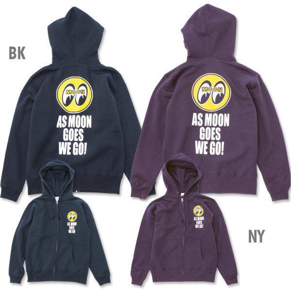 【MOON EYES】As MOON Goes We Go Zip Parka LOGO打印 帽T 紫色| Webike摩托百貨
