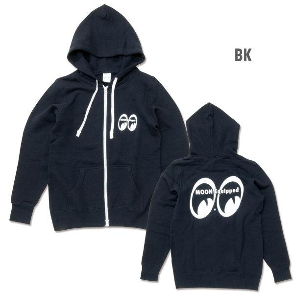 【MOON EYES】MOONEYES Equipped Ladies Zip Parka 極簡大logo帽T 黑色| Webike摩托百貨