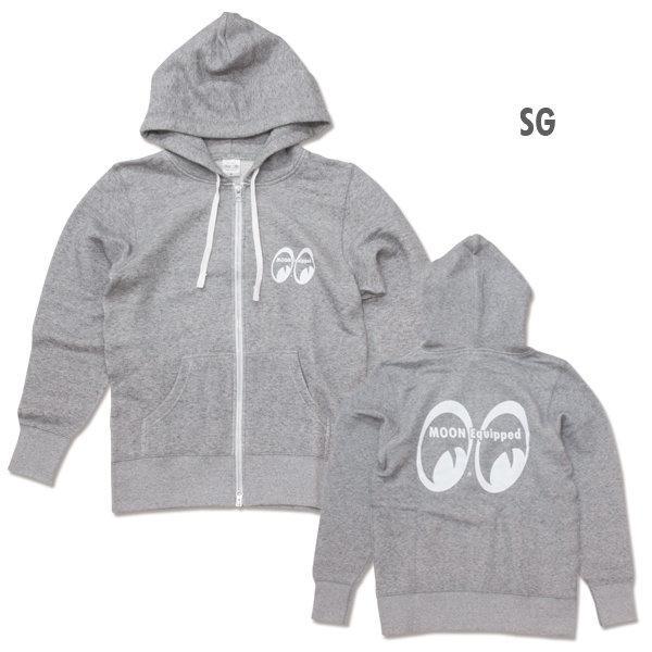 【MOON EYES】MOONEYES Equipped Ladies Zip Parka 極簡大logo帽T 灰色| Webike摩托百貨