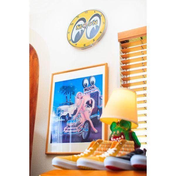 【MOON EYES】MOONEYES 經典LOGO 14吋鋁環框掛鐘  Webike摩托百貨