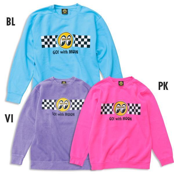 【MOON EYES】MOONEYES Go with MOON Sweatshirt 賽車旗長袖上衣 粉紅色| Webike摩托百貨