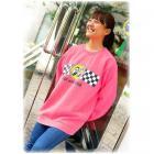【MOON EYES】MOONEYES Go with MOON Sweatshirt 賽車旗長袖上衣 藍色  Webike摩托百貨