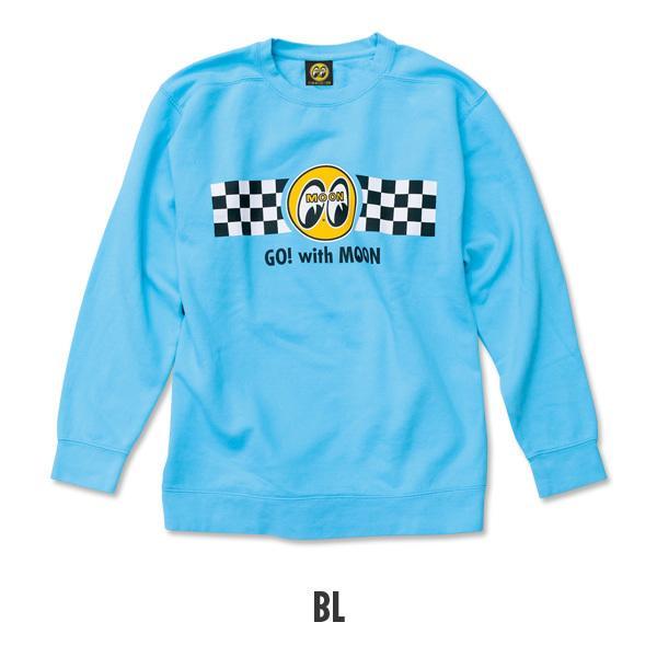 【MOON EYES】MOONEYES Go with MOON Sweatshirt 賽車旗長袖上衣 紫色| Webike摩托百貨