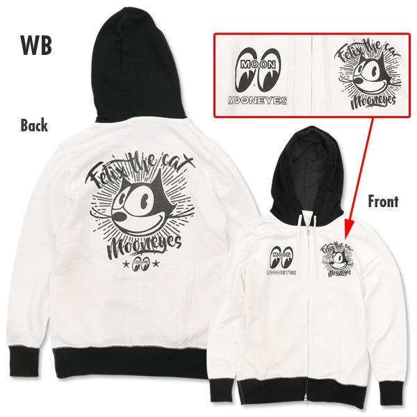 【MOON EYES】MOONEYES Felix Face Zip Up Parka 菲力貓 連帽外套 白色| Webike摩托百貨