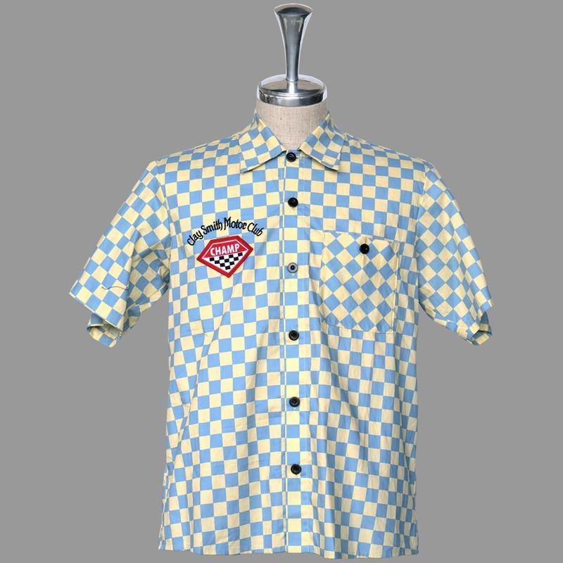 【MOON EYES】CLAY SMITH 叼菸鷹 賽車旗 方格旗 短袖襯衫 黃色  Webike摩托百貨