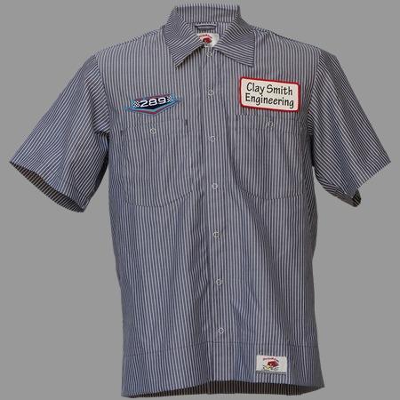 【MOON EYES】CLAY SMITH 叼菸鷹 賽車旗 直條紋短袖襯衫 藍色| Webike摩托百貨